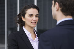 Job interview. Young woman coming to a job interview stock image
