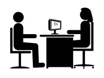 Job Interview. Silhouette Job Interview (Female Boss & Male Candidate royalty free illustration