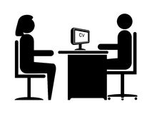 Job Interview. Silhouette Job Interview (Male Boss & Female Candidate stock illustration