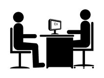 Job Interview. Silhouette Job Interview (Male Boss & Male Candidate royalty free illustration