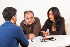 Job Interview. Man During Exam or Job Interview Royalty Free Stock Images