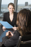 Job interview. Woman during a job interview Stock Photography