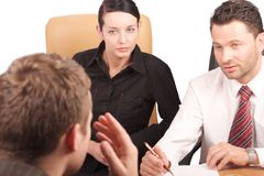 Job Interview. Three persons business meeting   -isolated Royalty Free Stock Photo