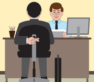 Job Interview. Job applicant desperate to do well at his interview Royalty Free Stock Images
