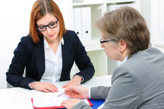 Job interview. Job applicant having an interview Stock Photo