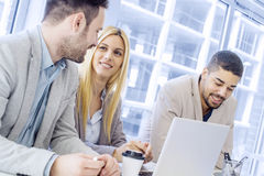 Job interview. Job applicant having an interview.Group of business people having job interview with young woman Royalty Free Stock Photo