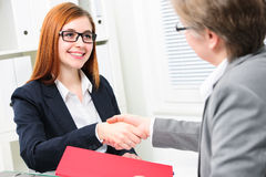 Job interview. Job applicant having interview. Handshake while job interviewing