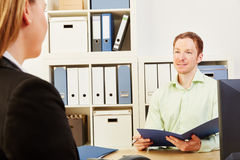 Job interview and application process. Woman in a job interview and application process in a company Stock Photo