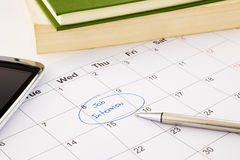 Job interview appointment on schedule royalty free stock photo