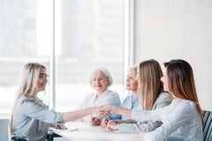 Job interview business ambitious female applicant. Job interview. Successful business career. Human resources. Female recruiters greeting young ambitious stock photo