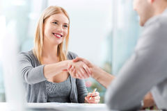 Job interview. Business people meeting at table stock photography