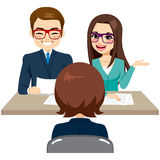 Job Interview. Business staff on recruitment job interview with woman candidate stock illustration