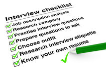 Job interview checklist Royalty Free Stock Photography