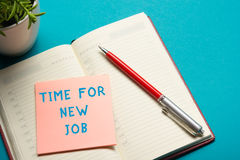 Job interview concept . Office table top view. Notepad, pen and reminder with word Royalty Free Stock Image