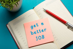 Job interview concept . Office table top view. Notepad, pen and reminder with word Stock Photography