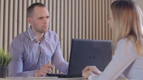 Job interview concept - two business people during recruitment stock video footage