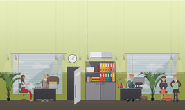 Job interview concept vector illustration in flat style. Vector illustration of employee, manager, director interviewing young woman, candidates waiting for job Royalty Free Stock Photography