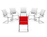 The job interview. 3d generated picture of some white chairs and one red chair royalty free illustration