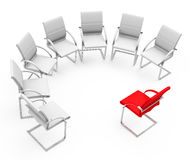 The job interview. 3d generated picture of some white chairs and one red chair vector illustration
