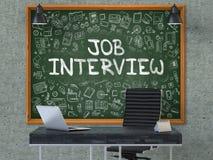 Job Interview disegnato a mano sulla lavagna dell'ufficio Fotografia Stock Libera da Diritti
