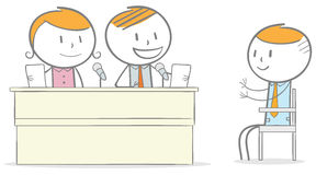 Job Interview. Doodle stick figure: Employee Candidate interviewed by a group of business person Stock Photo