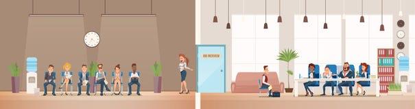 Job Interview en het Aanwerven Vector illustratie stock illustratie
