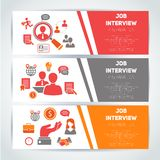 Job interview flat banner set Royalty Free Stock Image