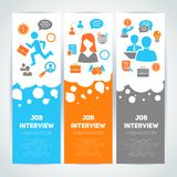 Job interview flat banner set. Job interview preparation flat banner vertical set with recruitment meeting cv search isolated vector illustration Stock Photography