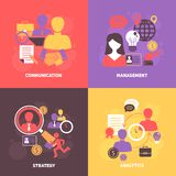 Job interview flat set. Job interview flat icons set with communication management strategy analytics isolated vector illustration Stock Images