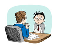 Job Interview. A hand drawn vector doodle illustration of a job seeker being interviewed by the employer, isolated on a simple background (editable Stock Image