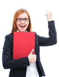 Job interview. Happy young candidate holding files for a job interview Stock Photos