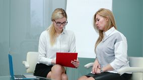 Job interview with hr specialist in big company for applicant woman. stock video