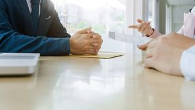 Job interview with human resource manager in office, selective focus.  royalty free stock photos