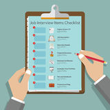 Job interview icons in flat design on clipboard. Job interview preparation infographic. Vector Stock Photos