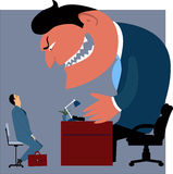 Job interview. Intimidated candidate talking mo a monster boss, vector illustration Stock Photos
