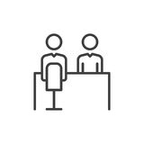 Job interview line icon, outline vector sign, linear style pictogram isolated on white. Symbol, logo illustration. Editable stroke Stock Photos