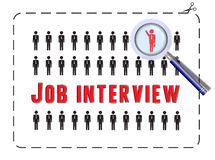 Job Interview with magnifier Stock Image