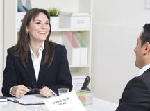 Job interview. Man explaining about her profile to business managers at a job interview Stock Photo