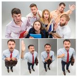 Job interview with manager in office. Concept of choose the best candidate. Collage with young business men and women, funny looking and asking question, you royalty free stock photo