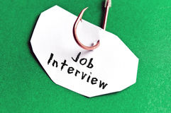 Job Interview message on paper Stock Photography