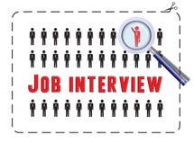 Job Interview mit Vergrößerungsglas Stockbild
