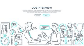 Free Job Interview - Modern Line Design Style Illustration Stock Photo - 121492840