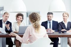 Job interview in office. Woman on job interview in the office room stock image