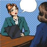 Job interview pop art vector illustration Royalty Free Stock Photos