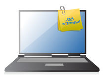 Job interview and post on laptop Royalty Free Stock Images