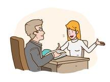 Job Interview Presentation en hand dragen vektortecknad filmillustration av en jobbsökare som introducerar sig till HRD-chefen vektor illustrationer