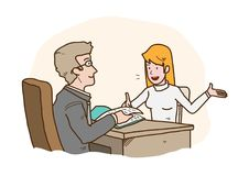 Job Interview Presentation, a hand drawn vector cartoon illustration of a job seeker introducing herself to the HRD manager. A hand drawn vector cartoon vector illustration