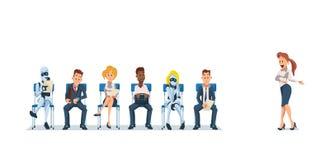 Job Interview Recruiting en Robots Vector royalty-vrije illustratie
