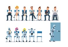 Job Interview Recruiting en Robots Vector vector illustratie