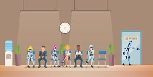 Job Interview Recruiting et robots Vecteur illustration libre de droits